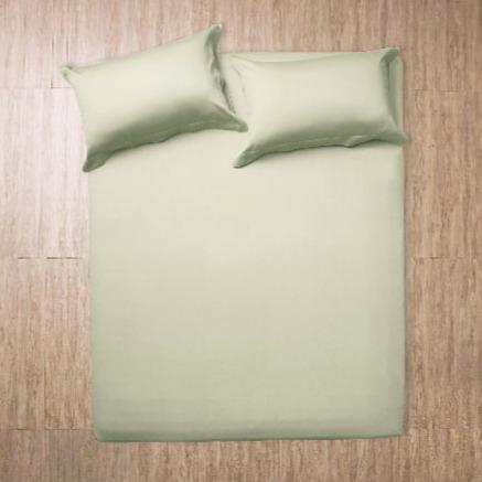 Azomaco原色床單枕套組-香草綠  雙人床單PC組 5*6.2*30