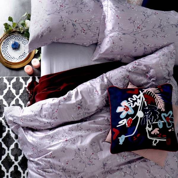 La Fatte新品| 8*7 ST 6*6.2*35 印花四件式床組-LAT11 露葉  加大雙⼈床包加大被單組