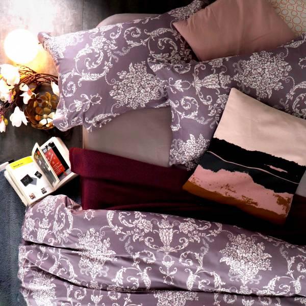 (QUEEN雙人加大)La Fatte新品|印花四件式床組-LAT08  月之華  加大雙⼈床包加大被單組 6*7 ST 6*6.2*35