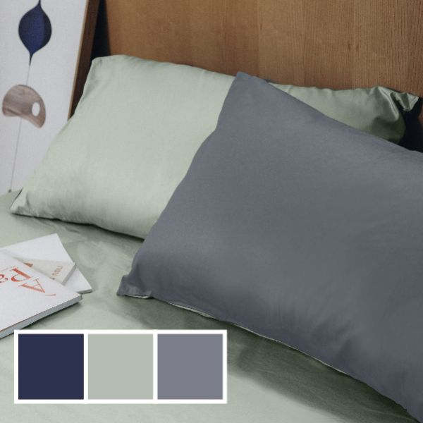 (標準雙人)COLOR 綠灰 法蝶新品素色系列三件式床包枕套組  5*6.2*35