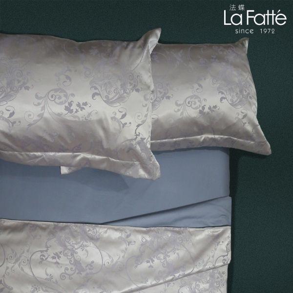 (標準雙人)La Fatte新品|緹花兩用被四件式床組-LAT47 芙蓉藤 紫 雙⼈床包5*6.2呎30cm被單組6*7呎
