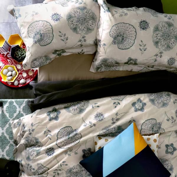 La Fatte新品| 6*7 ST 6*6.2*35 印花四件式床組-LAT12 舞簾 綠  加大雙⼈床包被單組