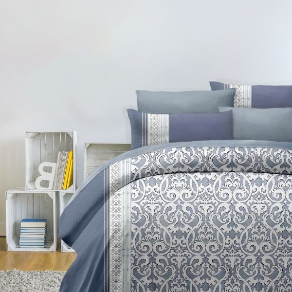(標準雙人)La Fatte新品DC16 伯恩斯克 印花四件式床組 雙⼈床包兩用被單組