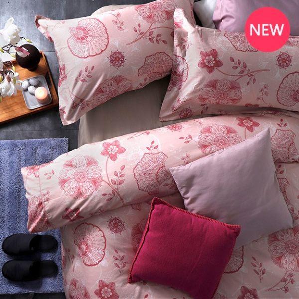 法蝶新品| 8*7 ST 6*6.2*35 印花四件式床組-LAT04 諾娃華爾滋 雙⼈加大床包加大被單組