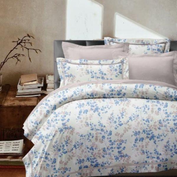 (標準雙人)La Fatte新品DC07 寧木靜想  粉|印花四件式床組 雙⼈床包兩用被單組