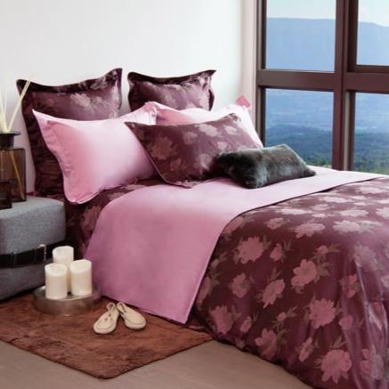 Claudek Perlina義大利原裝布 金埃及長纖精梳棉 緹花四件式床組-N155 一般被含枕套兩件、平單9*10一件、一般被套8*7呎一件(加大被套組)