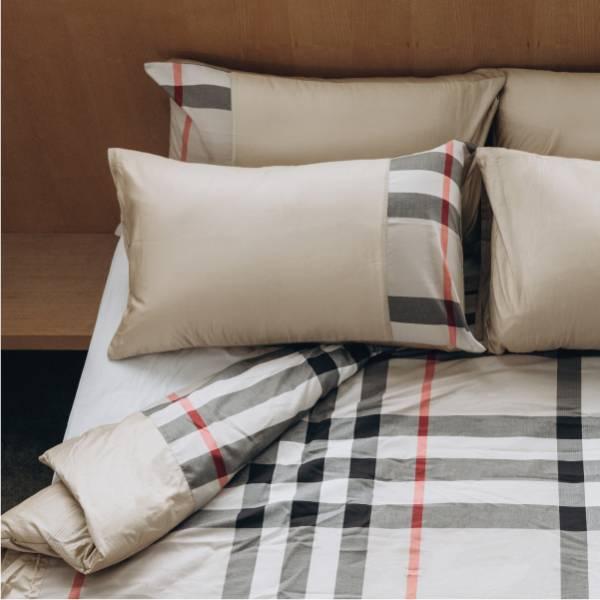 (法蝶新品)經典英倫系列卡其格紋被胎枕頭套三件組6*7 primaloft溫暖被 47*74卡其格紋美式枕頭套(無床包)