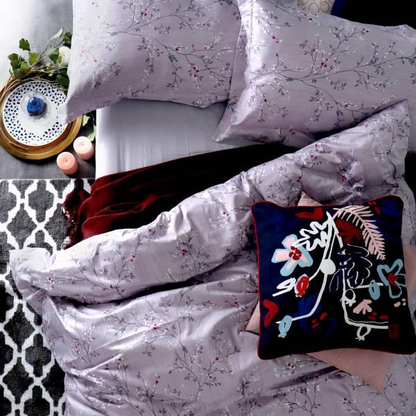 (KING特大雙人)La Fatte新品 印花四件式床組-LAT11 露葉  特大雙⼈床包被單組 8*7 ST 6*7*35