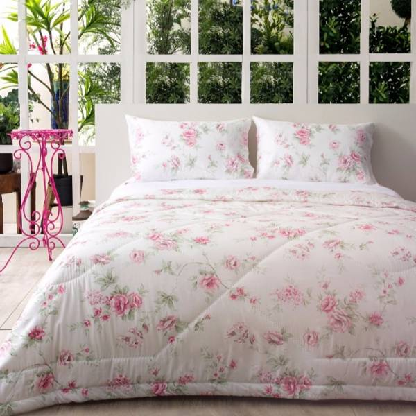 azomaco印花四件式床組-A253 馥朵粉香 床包尺寸:5x6.2呎(約150x186 cm) ; 被子尺寸:6x7呎(約180x210 cm)