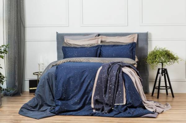 Cosmo Dark頂級原裝埃及棉緞織四件式床組(Queen床包+一般被套)