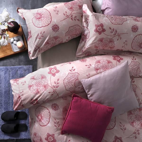 (QUEEN雙人加大)La Fatte新品| 印花四件式床組-LAT04 諾娃華爾滋 雙⼈床包被單組
