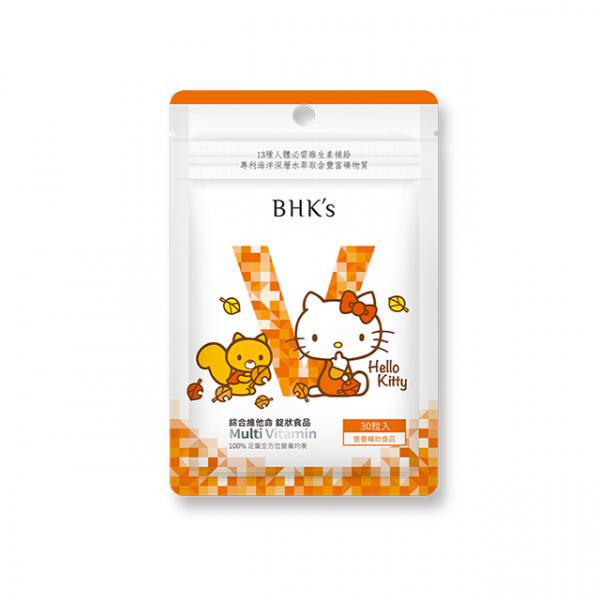 【秋高氣爽】BHK's 綜合維他命錠 (30粒/袋)♥Hello Kitty 綜合維他命,HelloKitty,綜合維生素,Kitty聯名