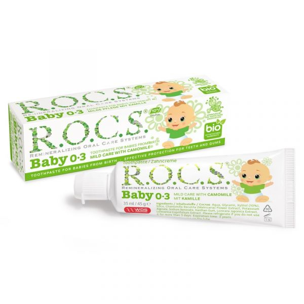 R.O.C.S 不含氟 0-3歲嬰兒牙膏洋甘菊 35ml/45g 0-3歲,嬰兒牙膏,蛀牙,抗發炎,寶寶,不含氟