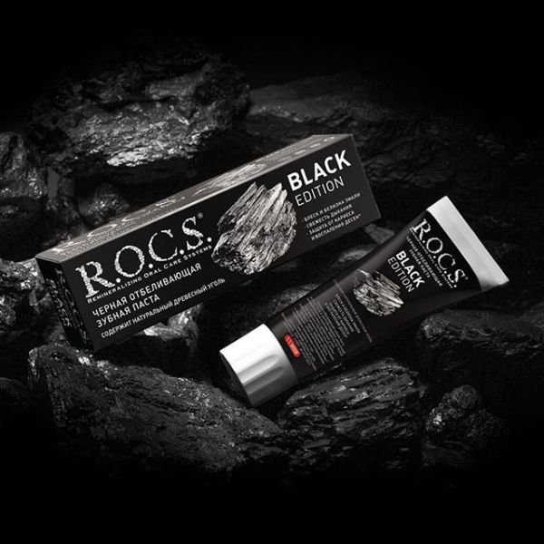 R.O.C.S. 高品質活性炭牙膏 爆炸亮白 60ml/74g ROCS,潔白,亮白,去除牙,天然精油,不含氟,鳳梨酵素,去除牙菌斑,牙周病