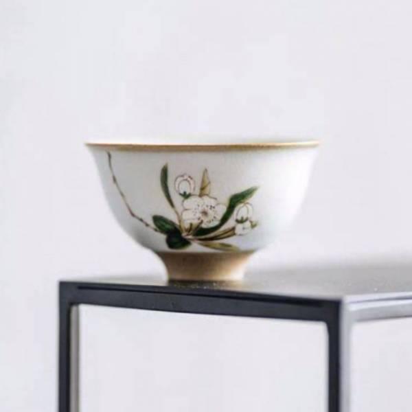 汝窯燒製茶杯 喝茶杯子 小茶碗 山茶花 汝窯燒製茶杯 喝茶杯子 小茶碗 山茶花
