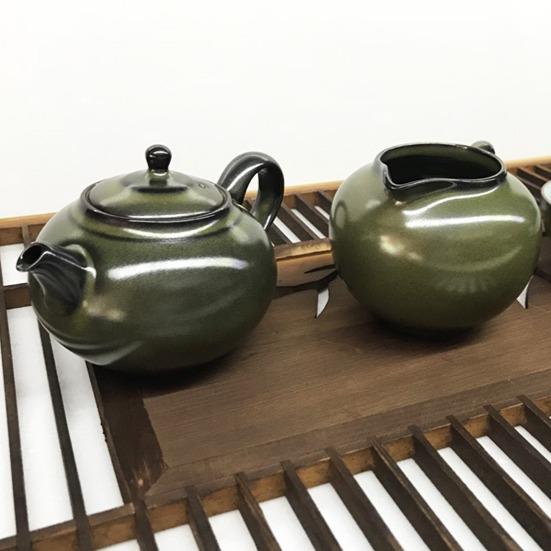 景德手製茶墨色 功夫茶泡茶組 1壺2杯1茶盅 景德手製茶墨色 功夫茶泡茶組 1壺2杯1茶盅