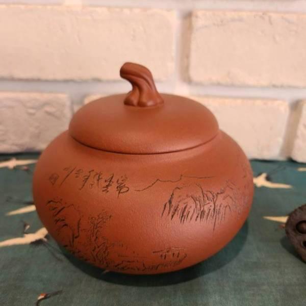 紅泥紫砂茶葉罐  裝茶容器 儲茶 半斤300g 紅泥紫砂茶葉罐  裝茶容器 儲茶