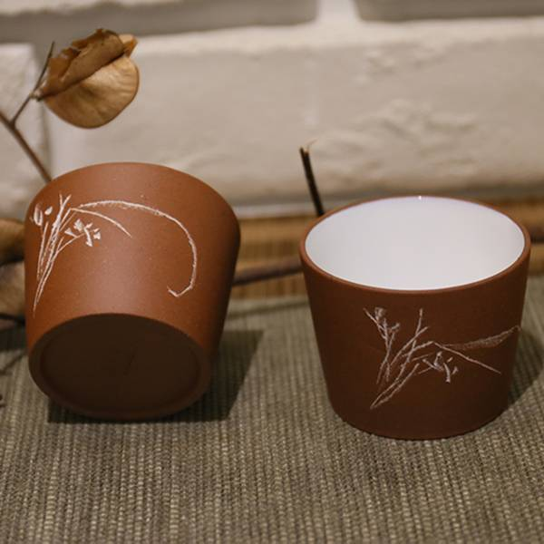 1980年代清水泥 柴燒 喝茶杯子 1980年代清水泥紫砂釉燒杯 柴燒 喝茶杯子