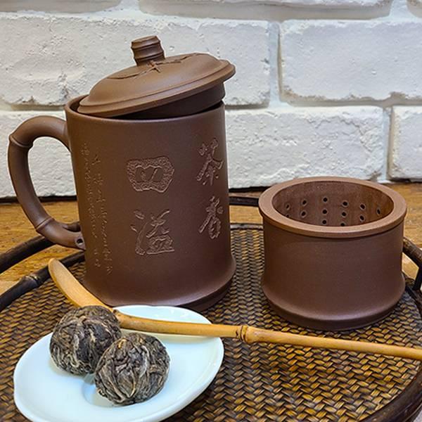 1970年代紫砂 訂製款泡茶杯 紫砂竹節杯 沖茶套組 1970年代泥料 紫砂竹節杯 沖茶套組