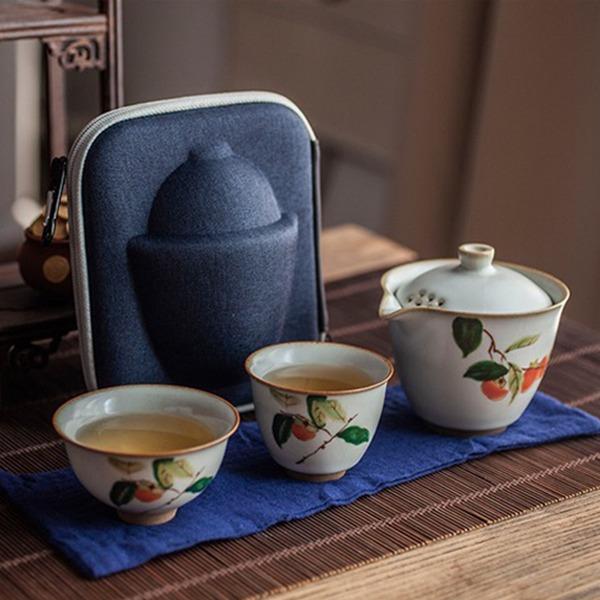 汝窯燒陶器一壺兩杯  攜帶式沖茶組 汝窯燒陶器一壺兩杯  攜帶式沖茶組