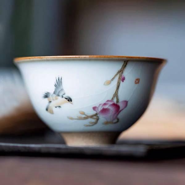 汝窯燒製茶杯 喝茶杯子 小茶碗 喜鵲幽蘭 汝窯燒製茶杯 喝茶杯子 小茶碗 喜鵲幽蘭 高溫燒製:1320度