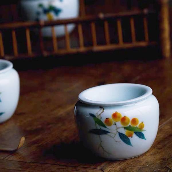青白瓷手繪 水方 建水 水盂 茶道 茶席配件 青白瓷手繪 水方 建水 水盂 茶道 茶席配件