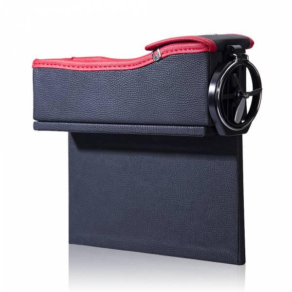 超值2入組【OMyCar】質感皮革汽車隙縫收納盒(主駕+副駕) 零錢盒 水杯架 手機架【DouMyGo汽車百貨】