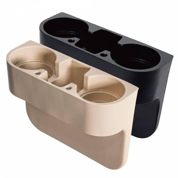 汽車椅縫多功能置物架 飲料杯架 置杯架 水杯架 手機架 收納 置物盒 雙水杯【DouMyGo汽車百貨】
