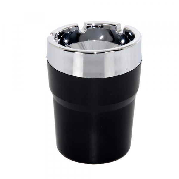 超科技日式車用菸灰缸 熄菸盒 攜帶桌上用汽車用杯架煙灰缸 金屬色 垃圾桶【DouMyGo汽車百貨】