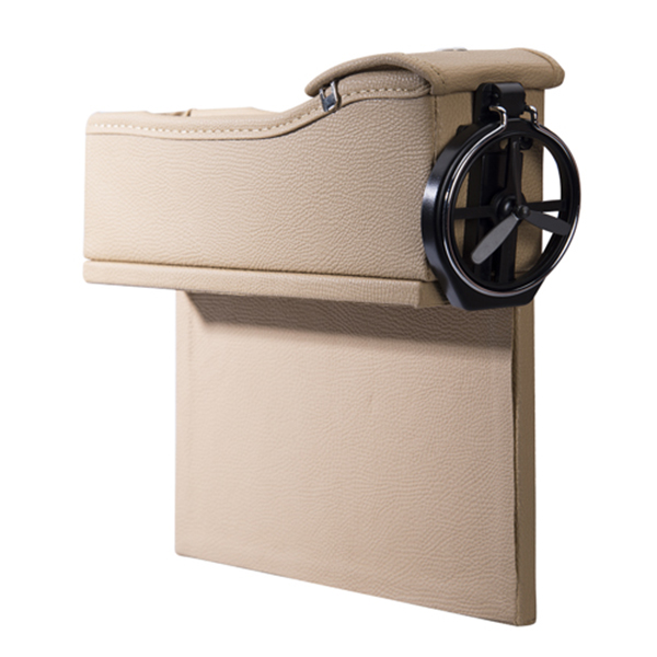 【安伯特】立可收 椅縫杯架皮革置物盒(1入裝-米色)零錢盒 水杯架 手機架 安伯特,立可收,椅縫,杯架,皮革,置物盒,米色,零錢盒,水杯架,手機架
