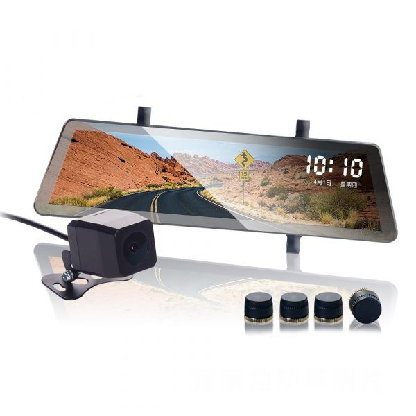 超值組【鷹之眼】流媒體全螢幕觸控式前後鏡行車紀錄器+胎壓偵測器【DouMyGo汽車百貨】