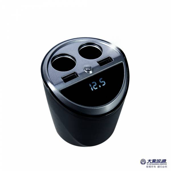 酷電大師能量杯 車用杯座電檢擴充器 3.1A 4孔車充 藍光LED 電瓶電壓顯示【DouMyGo汽車百貨】