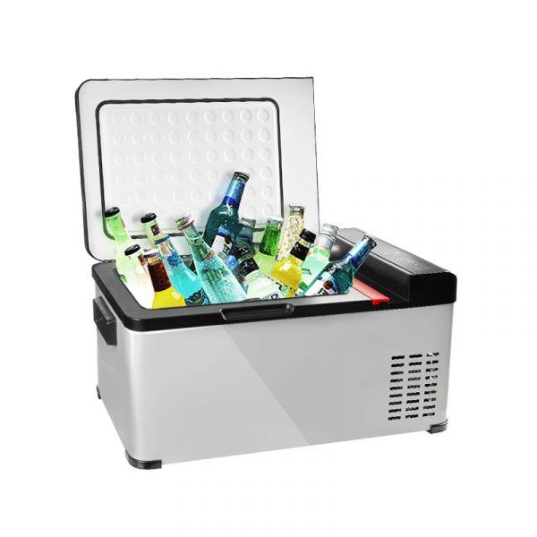 【冰炫風】智能鏡面壓縮機行動冰箱18L-(送變壓器+保溫冷藏袋+收納箱) 防震穩定 節能低噪 電瓶保護