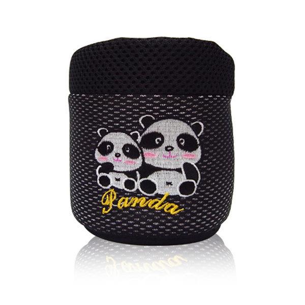 安伯特 竹炭 熊貓冷氣口置物袋 貓熊 圓仔圖案收納袋 手機架【DouMyGo汽車百貨】