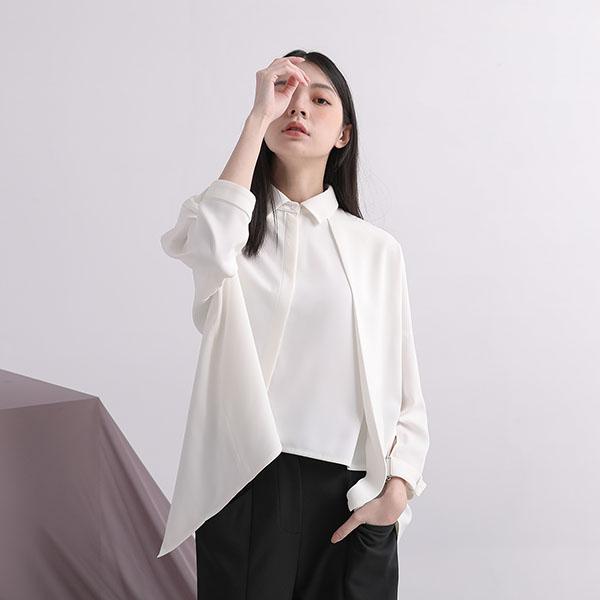 Triangle_三角定律雙層襯衫_白