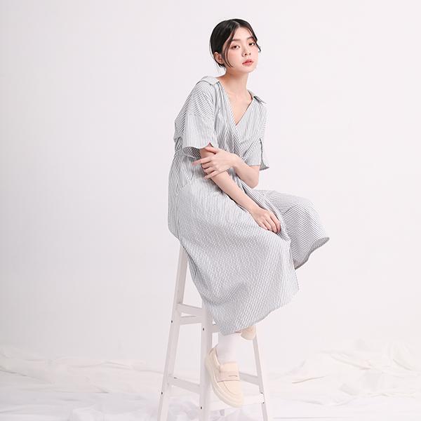 //SUMI x WEARMACAU//  Yanfei_煙霏和服式洋裝_勇敢藍格