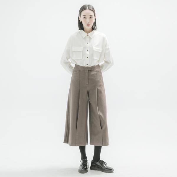 【網路獨家】Reflux_回流羊毛褶子寬褲_褐