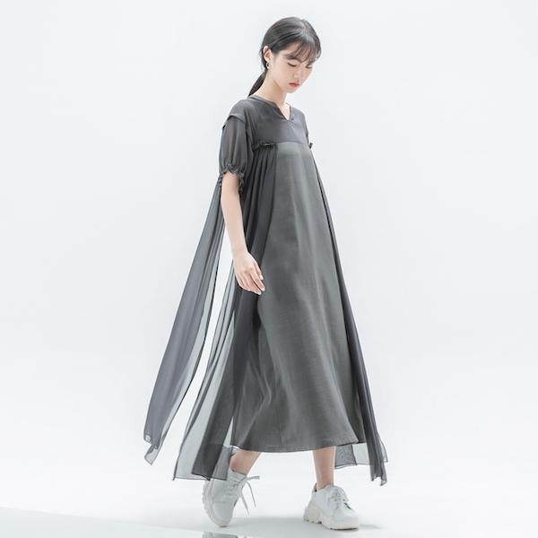 Glaze_琉璃拼接洋裝_灰綠