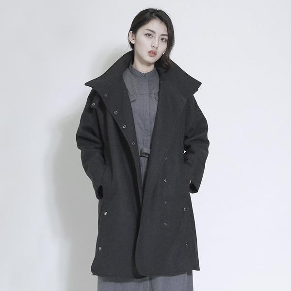 Darwin 達爾文羊毛大衣外套_碳黑