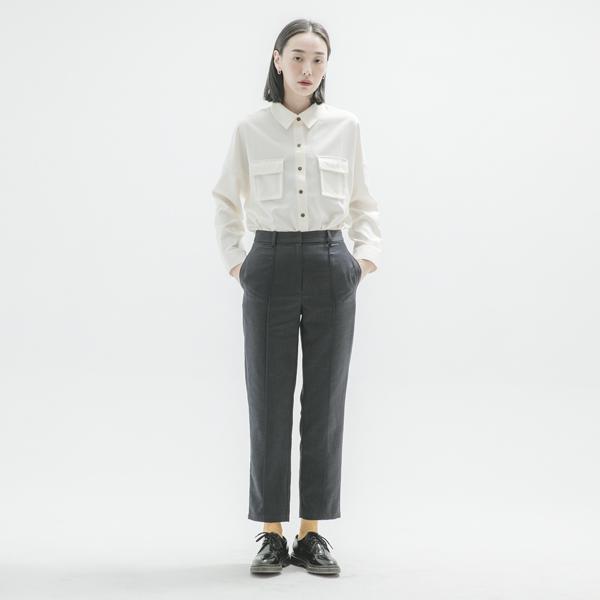 Time_時光復古西裝褲_丈青細格