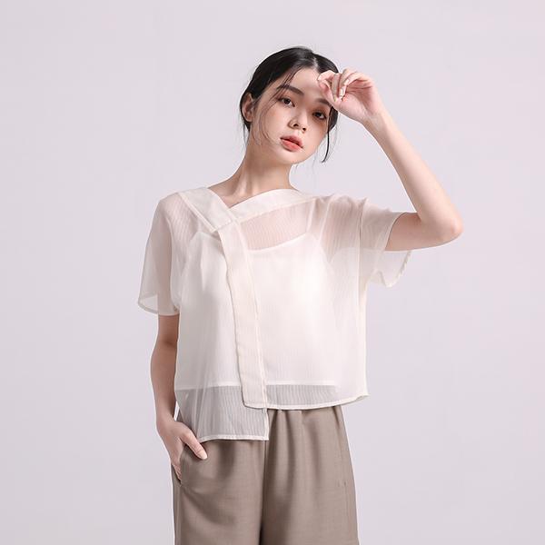 Weiguang_微光造型透膚上衣_月光白