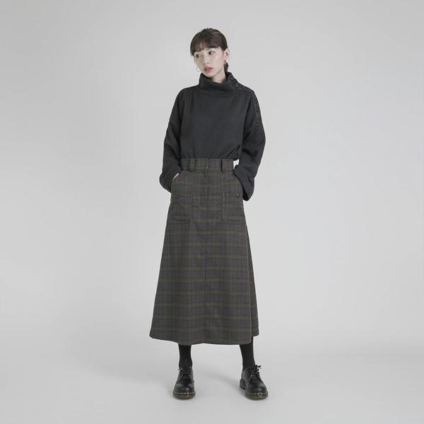 Mark_痕跡大口袋造型羊毛裙_黃格紋