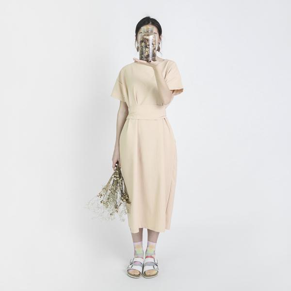 Dust 塵埃變化綁帶洋裝_奶油色