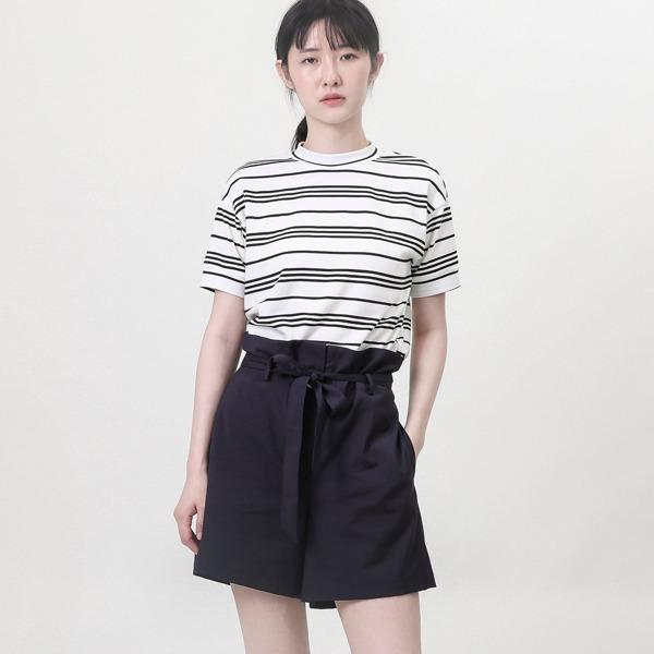 Ruffle_夢迴荷葉短褲_丈青條紋
