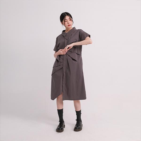 Prelude_序幕造型襯衫洋裝_孤獨灰