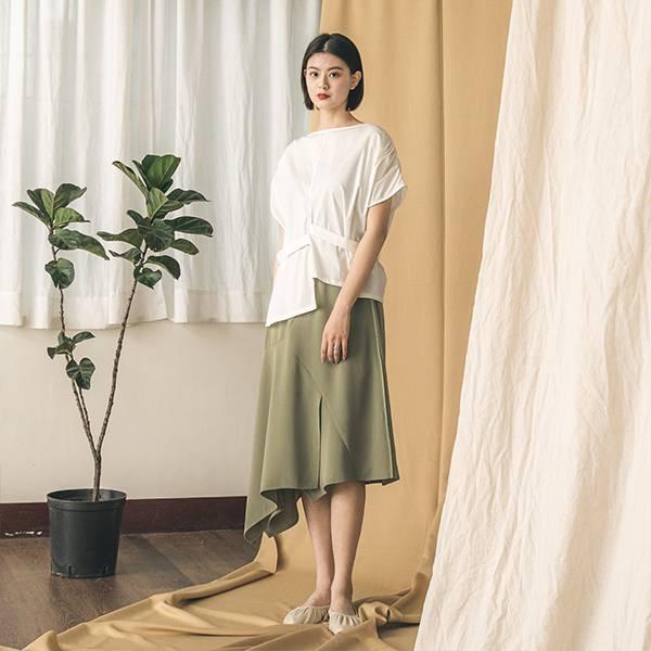 Bloom_盛開不對稱剪接裙_浪漫棕