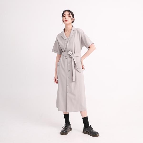 Tiaoyue_跳躍襯衫洋裝_孤獨灰