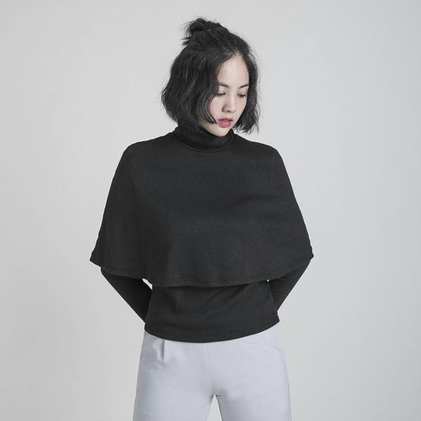 Dim 闌珊雙層高領上衣_黑