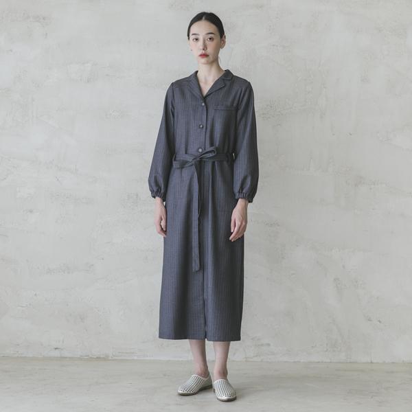 Sudden_驀然綁帶洋裝_深灰條紋