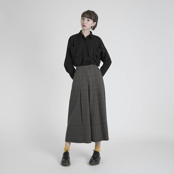Reflux 回流羊毛褶子寬褲_黃格紋